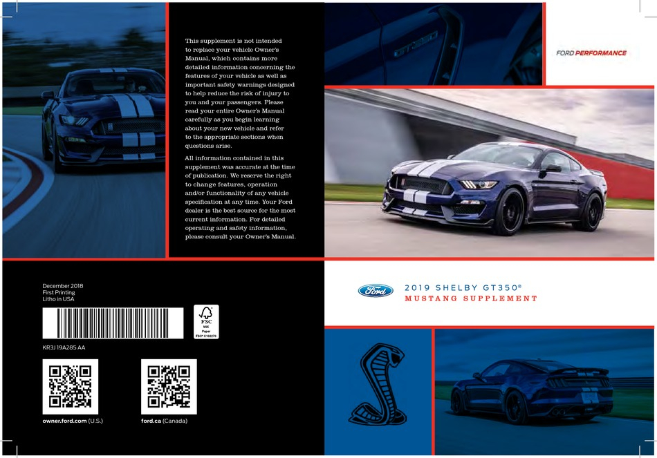 FORD MUSTANG SHELBY GT350 2019 MANUAL SUPPLEMENT Pdf